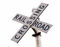 Railroad Crossing. Overhead railroad crossing under cloudy sky Royalty Free Stock Photography