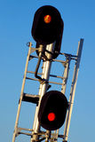 Railroad Crossing. Crossing signal with flashing red lights Stock Photo