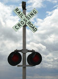 Railroad crossing. A railroad crossing sign and light Royalty Free Stock Photos