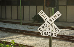 Railroad crossing. Sign with railroad tracks Royalty Free Stock Images