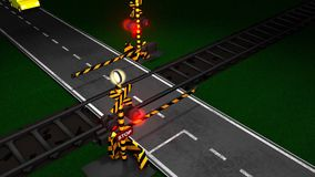 Railroad crossing animation, gate, light, train, car, traffic, concept. Computer generated, 3d rendering, Railroad crossing animation, Computer generated stock video footage