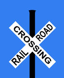 Railroad crossing with barrier or gate ahead. Sign vector illustration