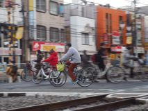 Railroad Crossing and Bicycles stock images