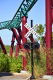 Railroad crossing in Busch Gardens Tampa Stock Photo