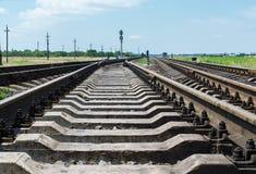Railroad crossing close up to horizon Royalty Free Stock Photos