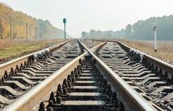 Railroad crossing closeup low angle Stock Photo