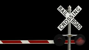 Railroad Crossing With Flashing Lights