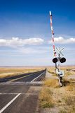 Railroad crossing with gates Royalty Free Stock Photos