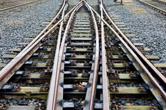Railroad crossing on a gravel. Railroad crossing on the gravel Stock Photos