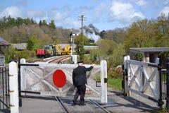 Railroad Crossing Guard and Gate Stock Photo