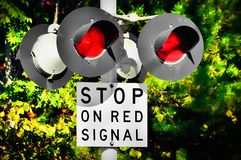 Railroad crossing lights Royalty Free Stock Photo