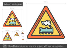 Railroad crossing line icon. Railroad crossing vector line icon isolated on white background. Railroad crossing line icon for infographic, website or app stock illustration