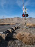 Railroad crossing in the Nevada desert Stock Images