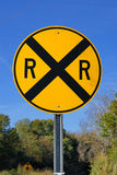 Railroad crossing road sign. Railroad crossing street sign in the country Stock Images