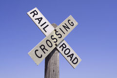 Railroad Crossing Sign. An old-fashioned railroad crossing sign with a clear deep blue sky backdrop royalty free stock image