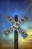 Railroad Crossing Sign. A close up shot of an old railroad crossing sign Royalty Free Stock Photos
