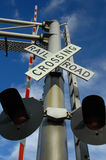 Railroad Crossing Sign. On clear day Royalty Free Stock Images
