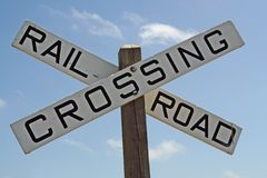 Railroad Crossing Sign. A railroad crossing sign against a beautiful blue sky Royalty Free Stock Image