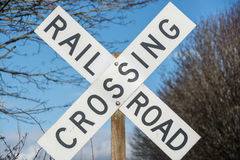 Railroad crossing sign Stock Photo