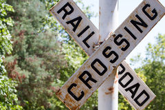 Railroad Crossing Sign in a Park. An older railroad crossing sign Stock Photos