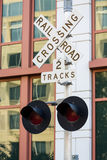 Railroad crossing sign in Washington DC Royalty Free Stock Images