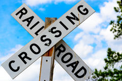 Railroad crossing sign. On a wood post Royalty Free Stock Photography