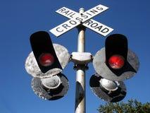 Railroad crossing signal. Closeup stock photo