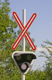 Railroad crossing signal. Railroad crossing with flashing lights Royalty Free Stock Image