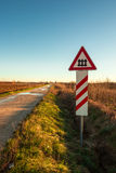 Railroad crossing with signal Royalty Free Stock Photo