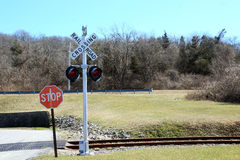 Railroad Crossing Signal with lights Royalty Free Stock Image