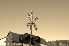 Railroad crossing signal Royalty Free Stock Photos