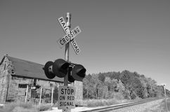 Railroad crossing signal Royalty Free Stock Images