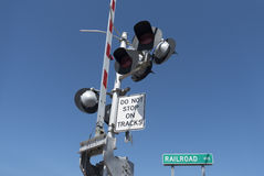 Railroad crossing signal Stock Photo