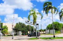 Railroad crossing signalization in FL Royalty Free Stock Photo