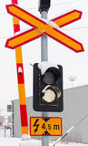 Railroad crossing signs in cold winter season Stock Images