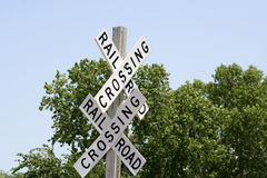 Railroad crossing signs Royalty Free Stock Images