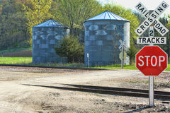 Railroad Crossing Signs. At a roadway intersection Stock Photography