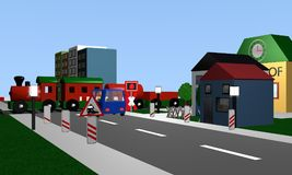 Railroad crossing with St. Andrew`s Cross. 3d rendering royalty free illustration