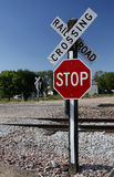 Railroad Crossing Stop Sign Royalty Free Stock Photos