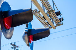 Railroad crossing switch lights Royalty Free Stock Photography