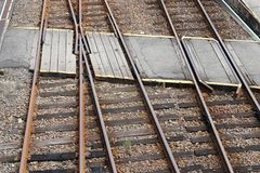 Railroad crossing, top view. Railroad crossing, line of track crossing, top view Stock Image