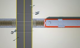 Railroad crossing top view. Railroad crossing with train top view. 3d rendering royalty free illustration