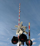 Railroad Crossing. Railroad tracks on the border of Rutherford and East Rutherford, New Jersey, USA Stock Image