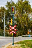 Railroad crossing traffic light Royalty Free Stock Photos