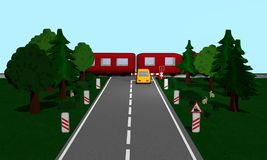 Railroad crossing with train, Andreaskreuz and road sign, car, t. Rees and bunny. 3d rendering vector illustration