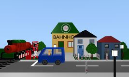 Railroad crossing with train, car and houses. 3d rendering stock illustration