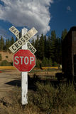 Railroad crossing with train on rails Stock Photo