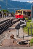 A railroad crossing for the transfer of tracks at the crossing in Switzerland royalty free stock photos