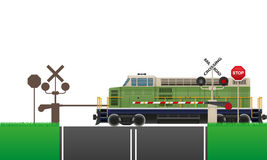 Railroad crossing vector illustration. On white background royalty free illustration