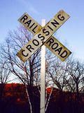Railroad crossing. Walking along railroad tracks in the summer Stock Photo